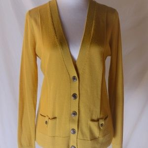 Halogen Wool Cardigan Yellow Sweater Yellow Sz M